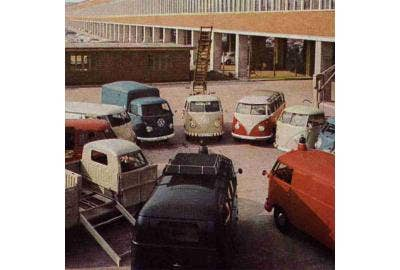 Colourised photo of VW Hannover Factory