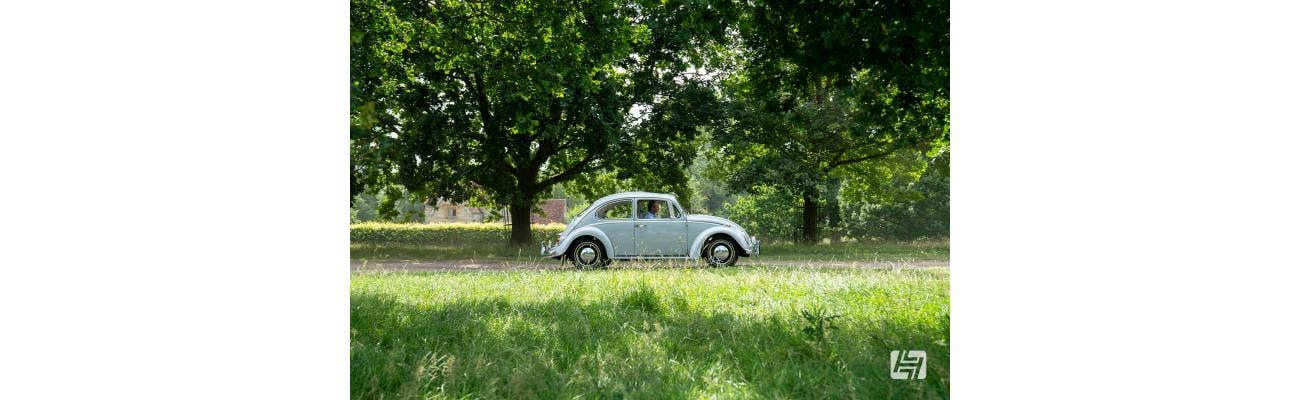 Early VW Beetle white side shot