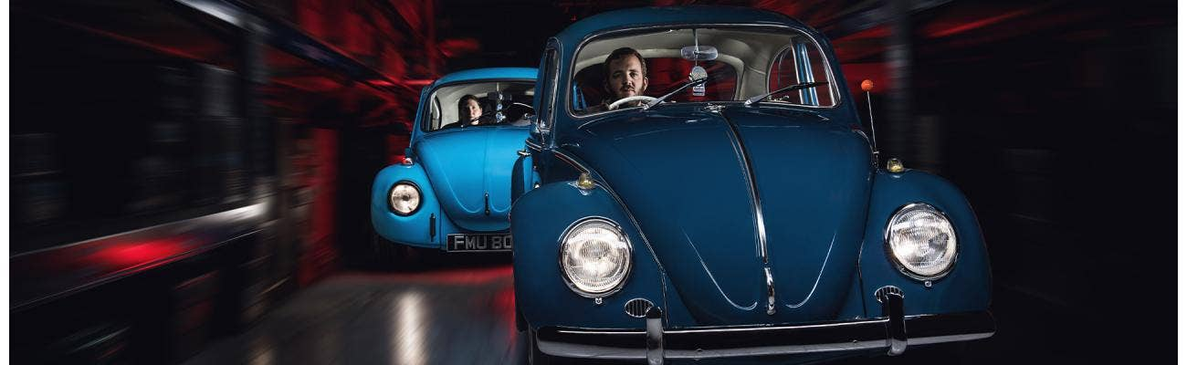 VW Beetle photographed with light painting technique