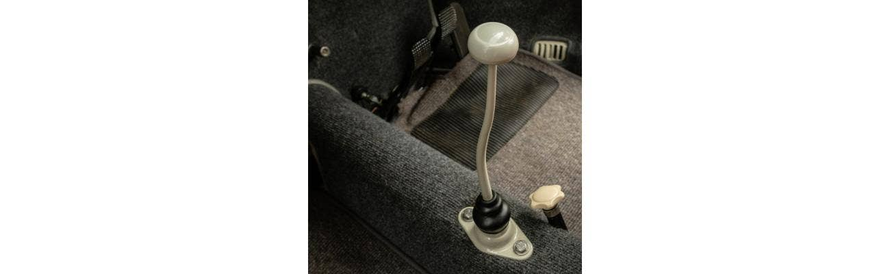 VW Beetle with custom interior and gearshifter