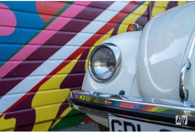 White 1974 VW Beetle side shot