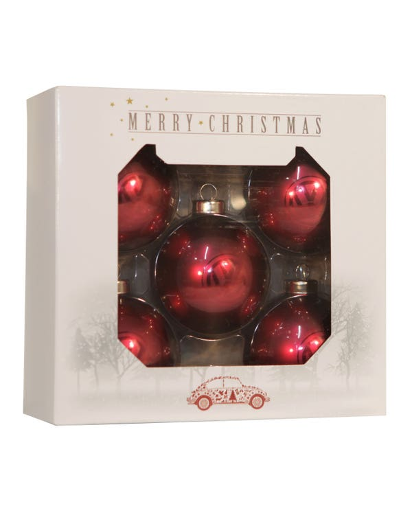 Christmas Tree Baubles VW Logo Red Pack of 5, Gen VW