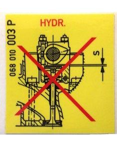 Aufkleber Warnung, Ventilstößel, 44x44 mm