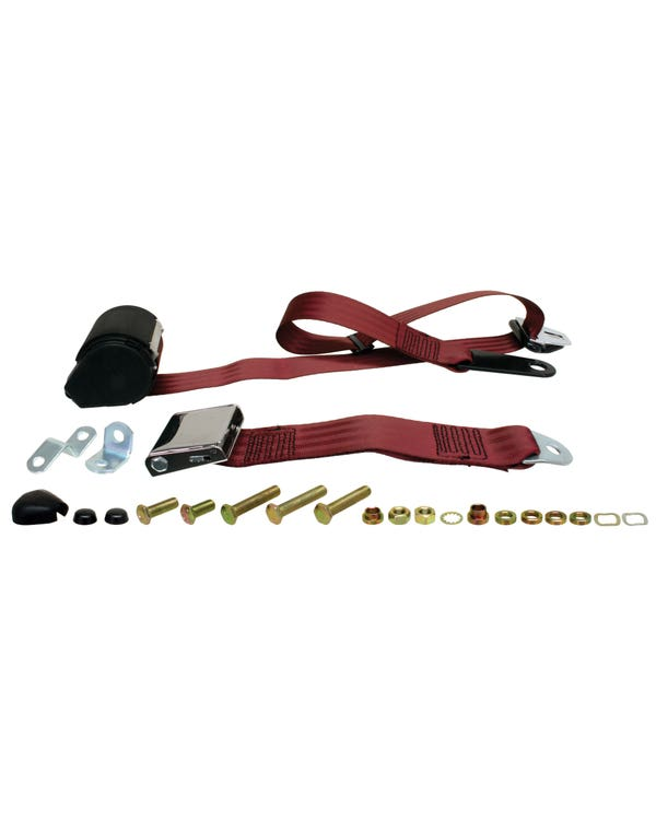 Front Seat Belt 3 Point Inertia with Chrome Buckle and Burgundy Webbing