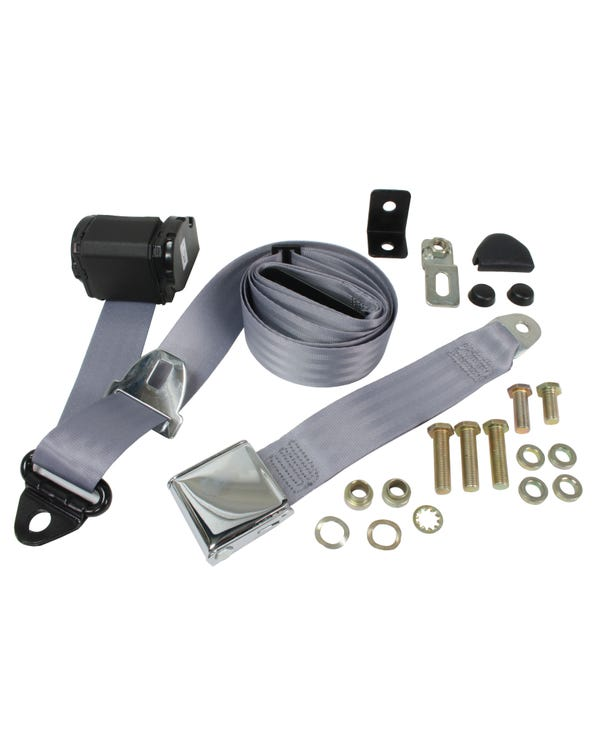 Front Seat Belt 3 Point Inertia with Chrome Buckle and Grey Webbing
