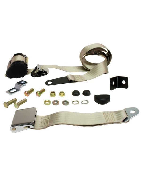 Seat Belt, Front, 3pt Inertia, Chrome Buckle, Ivory