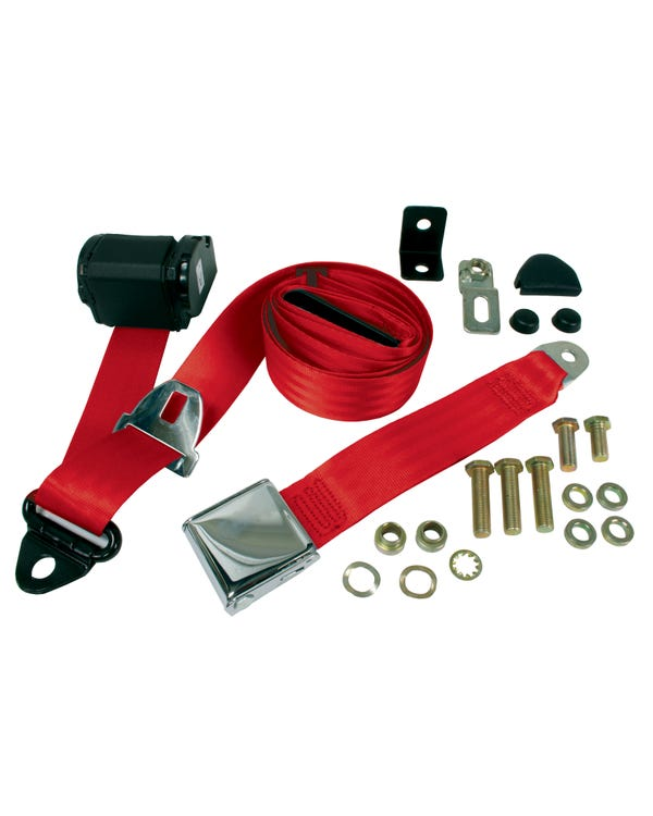 Front Seat Belt 3 Point Inertia with Chrome Buckle and Red Webbing
