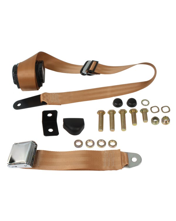 Front Seat Belt 3 Point Inertia with Chrome Buckle and Tan Webbing