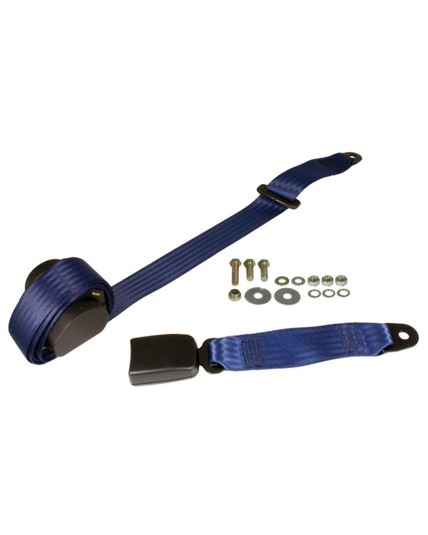 Rear Seat Belt 3 Point Inertia with Modern Buckle and Dark Blue Webbing