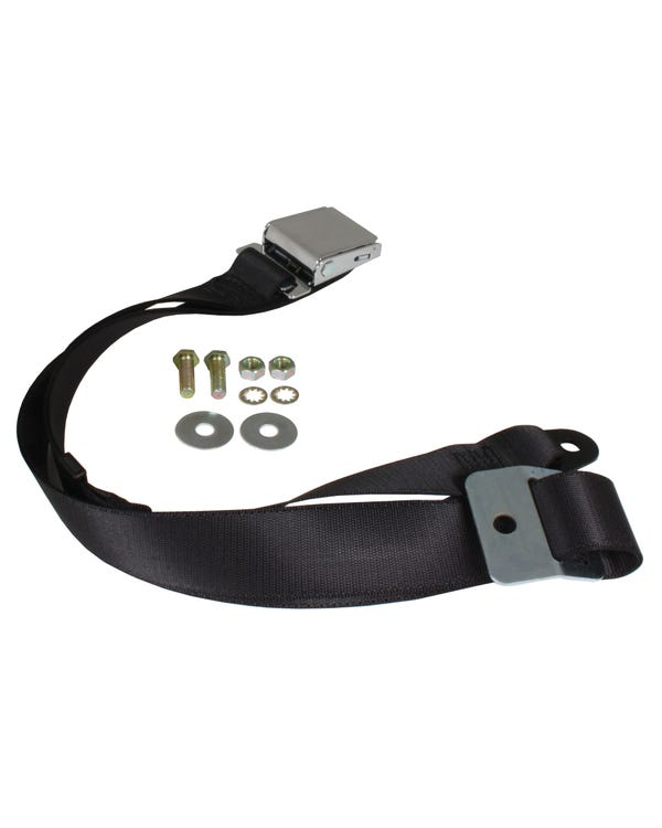 Lap Belt 2 Point Static with Chrome Buckle and Black Webbing