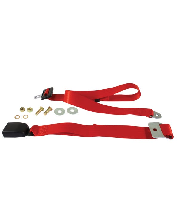 Lap Belt 2 Point Static with Modern Buckle and Red Webbing