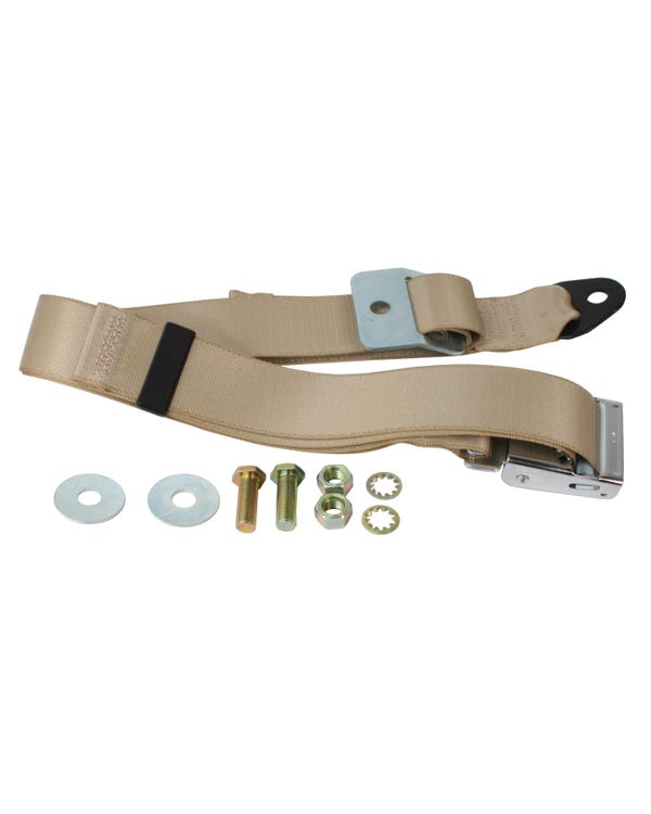 Lap Belt 2 Point Static with Chrome Buckle and Cream Webbing