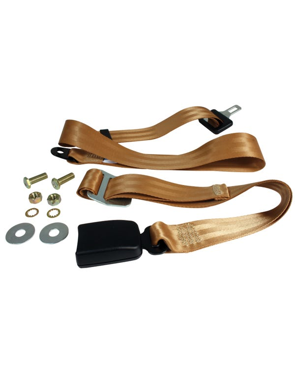 Lap Belt 2 Point Static with Modern Buckle and Tan Webbing