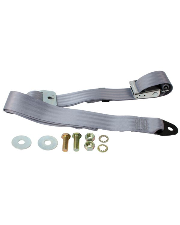 Lap Belt 2 Point Static with Chrome Buckle and Grey Webbing