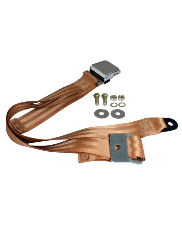Lap Belt 2 Point Static with Chrome Buckle and Tan Webbing