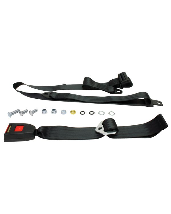Rear Seat Belt 3 Point Static with Modern Buckle and Black Webbing