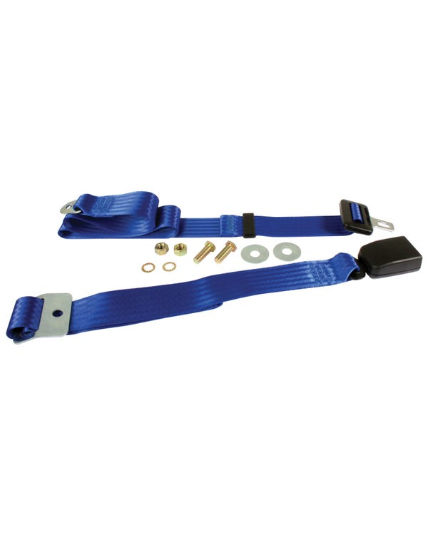 Rear Seat Belt 3 Point Static with Modern Buckle and Blue Webbing