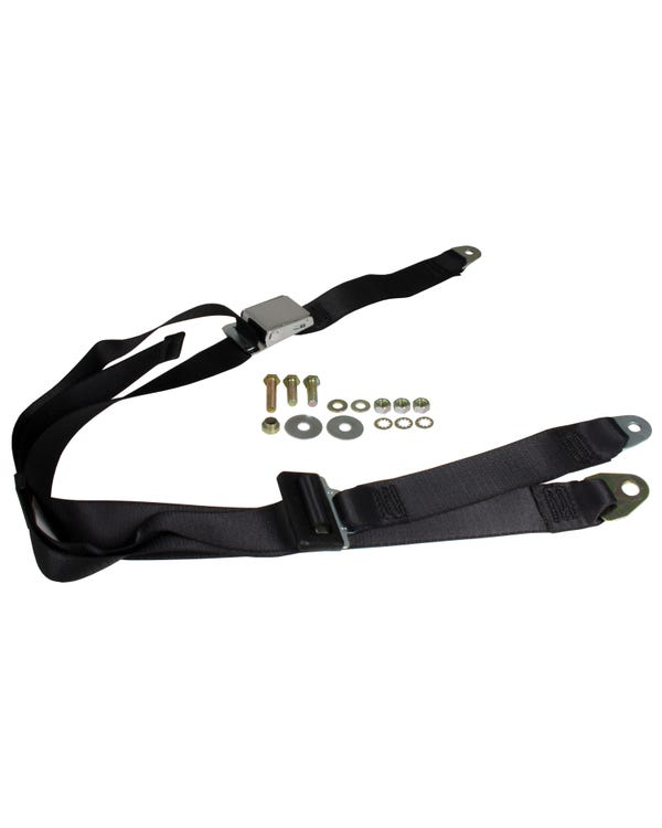 Rear Seat Belt 3 Point Static with Chrome Buckle and Black Webbing