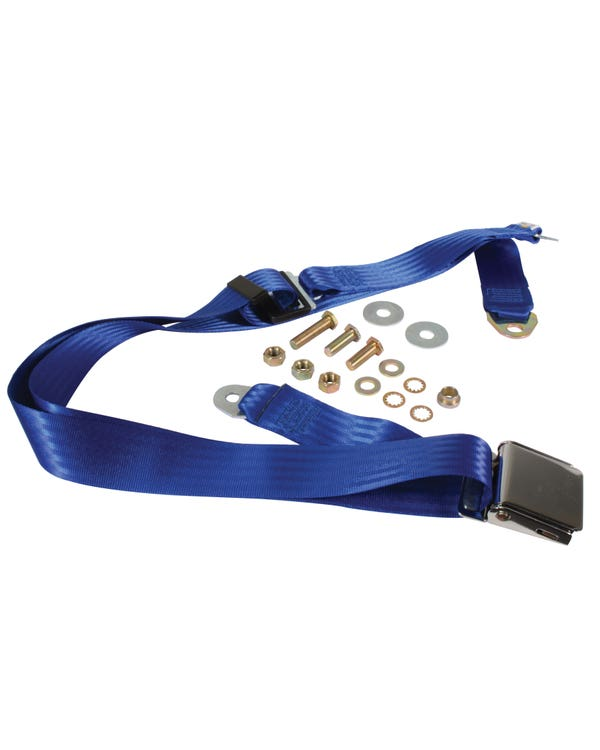 Rear Seat Belt 3 Point Static with Chrome Buckle and Blue Webbing