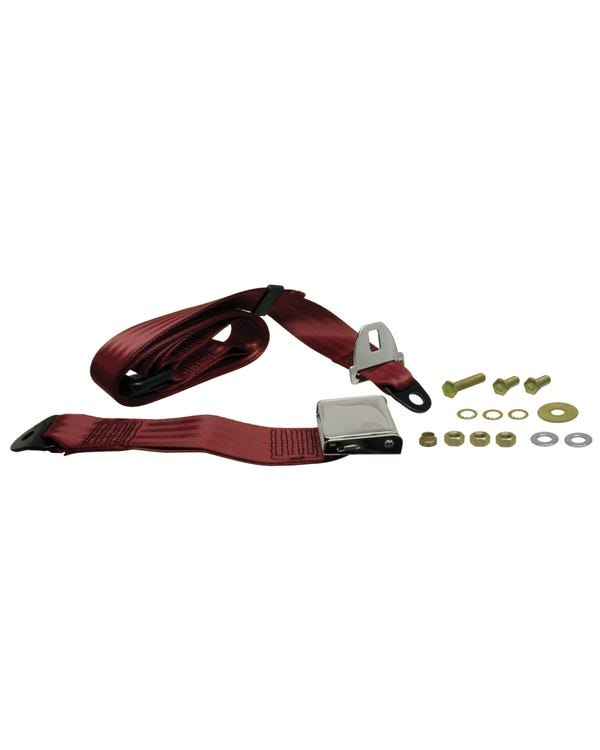 Rear Seat Belt 3 Point Static with Chrome Buckle and Burgundy Webbing