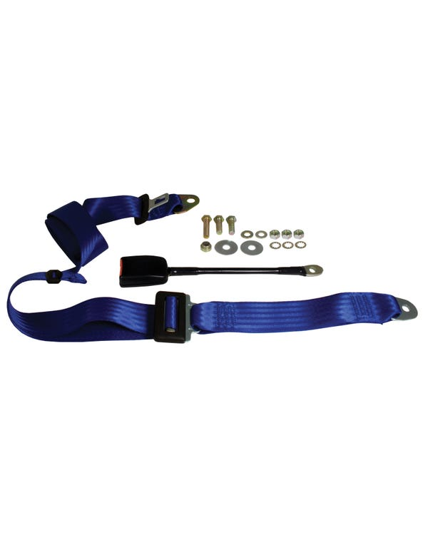 Front Seat Belt 3 Point Static with Modern Buckle and Blue Webbing