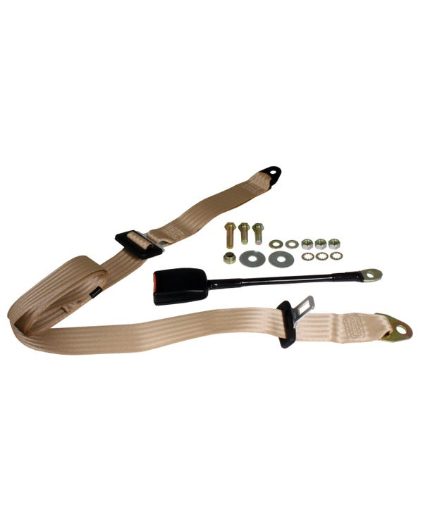 Front Seat Belt 3 Point Static with Modern Buckle and Cream Webbing