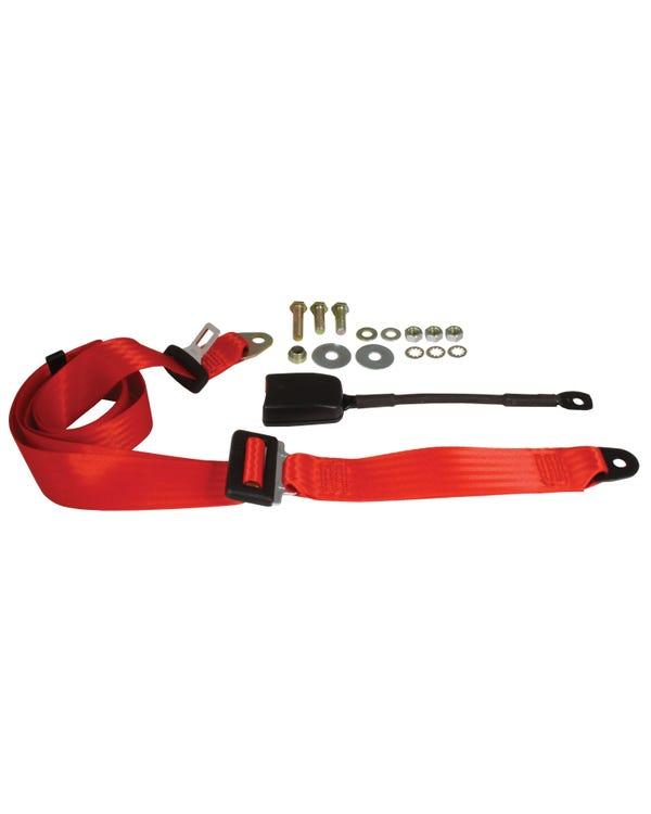 Front Seat Belt 3 Point Static with Modern Buckle and Red Webbing