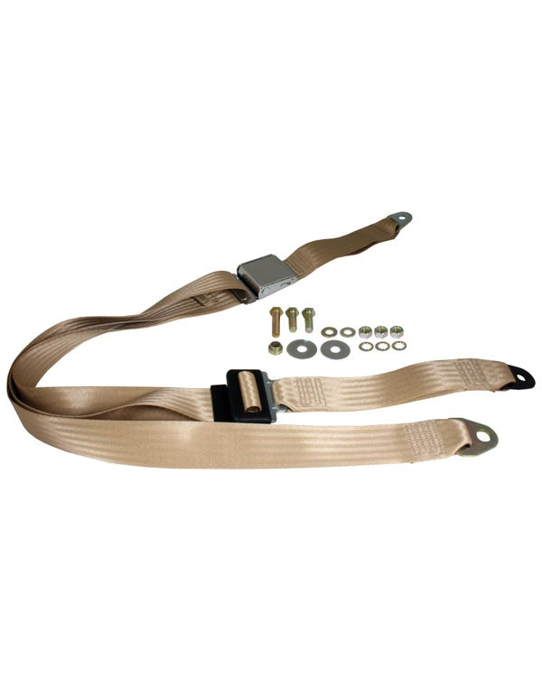 Front Seat Belt 3 Point Static with Chrome Buckle and Cream Webbing