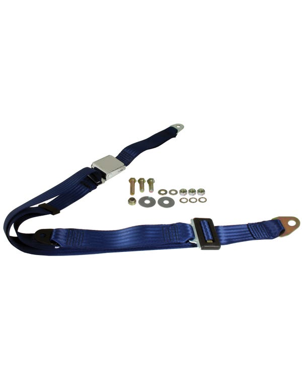 Front Seat Belt 3 Point Static with Chrome Buckle and Dark Blue Webbing