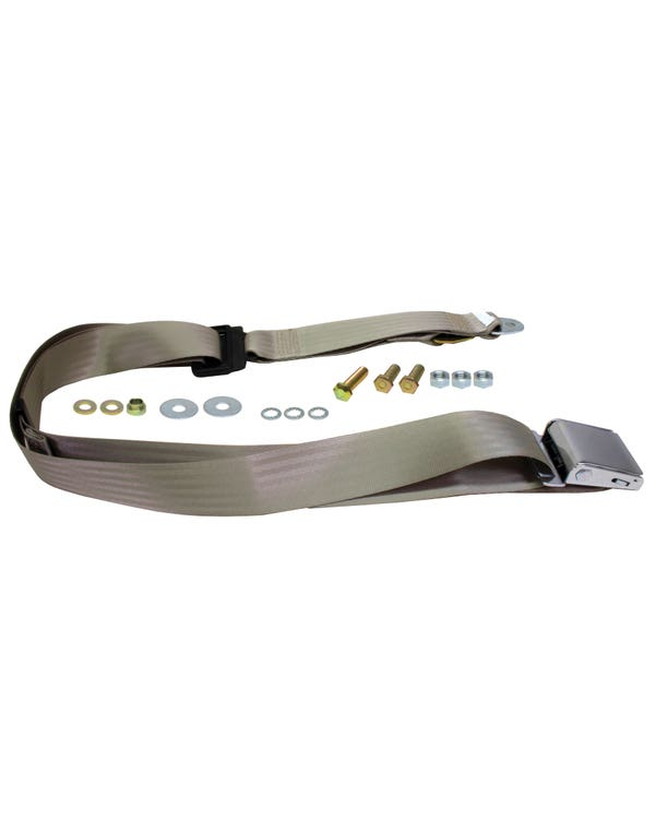 Front Seat Belt 3pt Static Chrome Buckle and Ivory colored Webbing