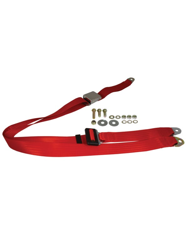 Front Seat Belt 3 Point Static with Chrome Buckle and Red Webbing