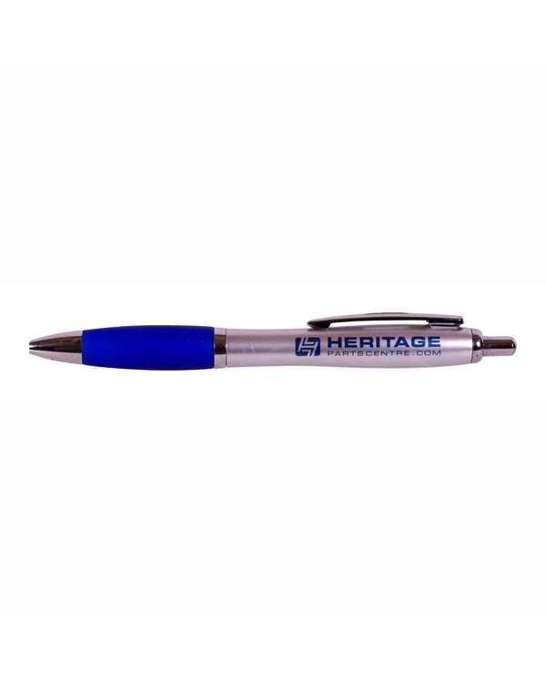 Silver/blue curvy pen with HPC logo