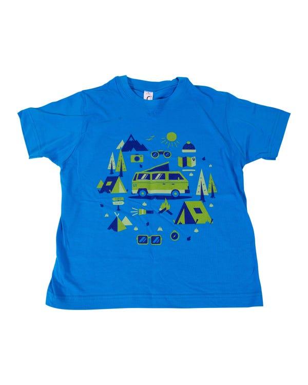 Kids T-Shirt, Azure Blue Camping Design, 8 Years