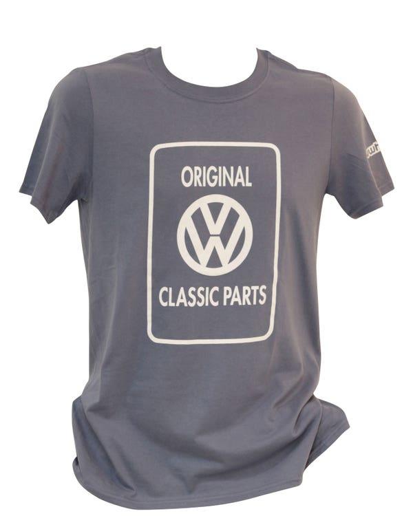 Mens T-Shirt, Blue with White Classic Parts Logo, Medium
