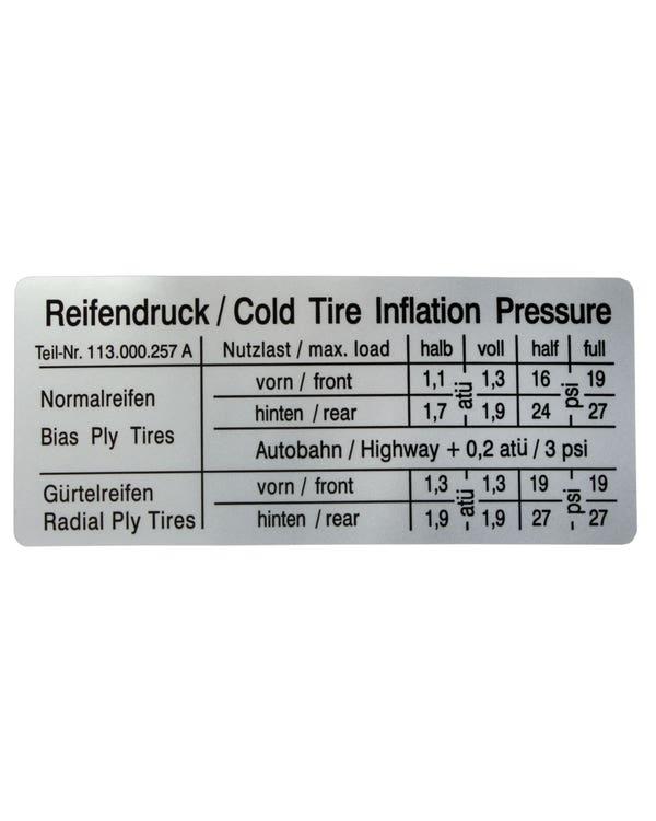 Sticker - Tyre Inflation