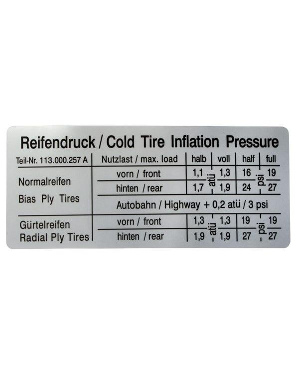 Sticker - tire Inflation