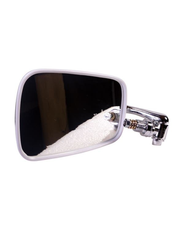 Door Mirror with Chrome Arm, Stainless Steel Head and White Trim - Left