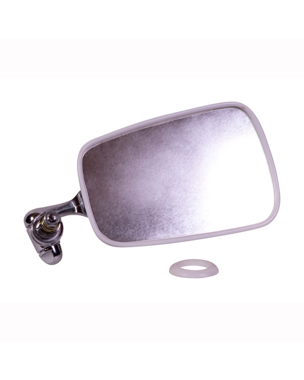 Door Mirror with Chrome Arm, Stainless Steel Head and White Trim - Right