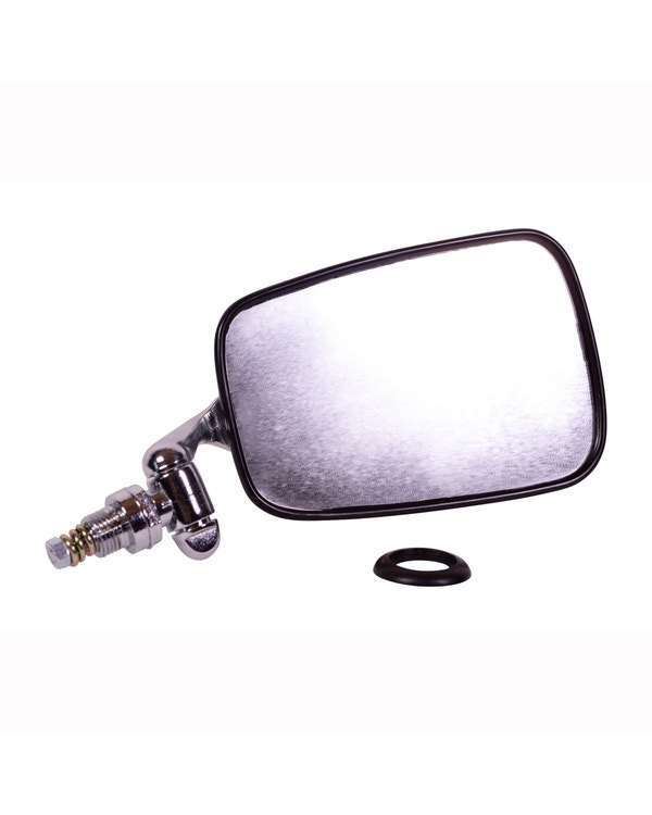 Door Mirror with Chrome Arm, Stainless Steel Head and Black Trim Right
