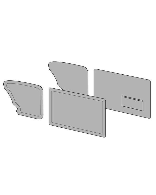 Conjunto de paneles para puertas con bolsillo en la puerta izquierda, acabados en dos colores con línea horizontal