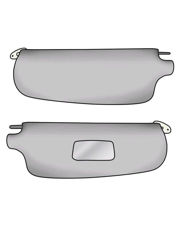 Sun Visors White with Mirror Pair
