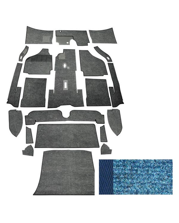 Carpet set,coupe,LHD,59-64, blue, narrow weave.*