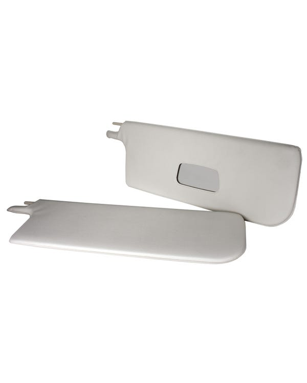 Sun Visors White with Right Hand Mirror Pair