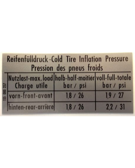 Aufkleber Reifendruck ohne Ersatzraddruck