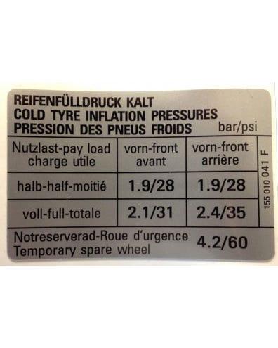 Sticker Tyre Pressure with Spare Wheel Pressure