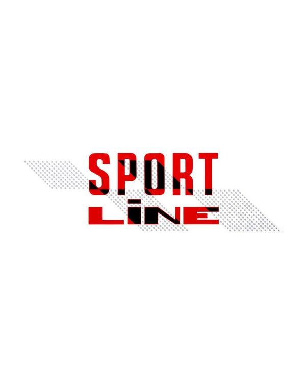Aufkleber - Sportline, Schwarz auf Rot, für schwarzen Lack, rechts