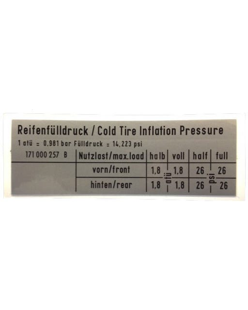 Sticker Tyre Pressure GTI 90x30mm
