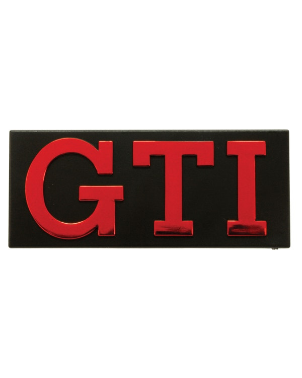 Grille Badge - Metallic Red Text with Black Surround