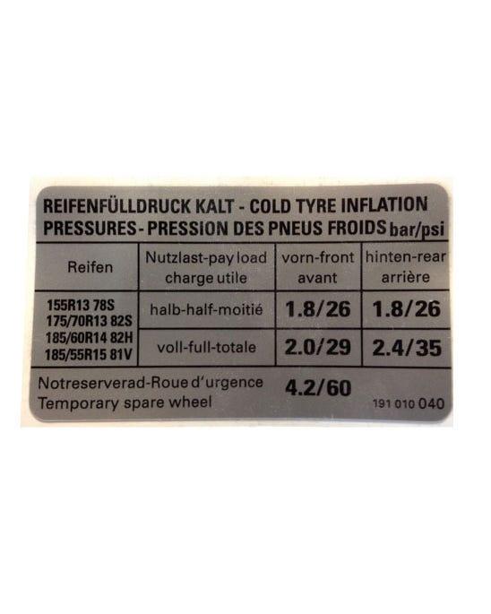 Sticker Tyre Pressure 1.3