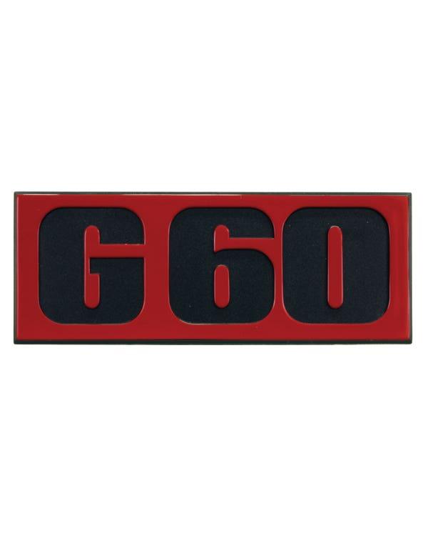 Emblem für den Frontgrill, G60, schwarzer Schriftzug mit rotem Hintergrund